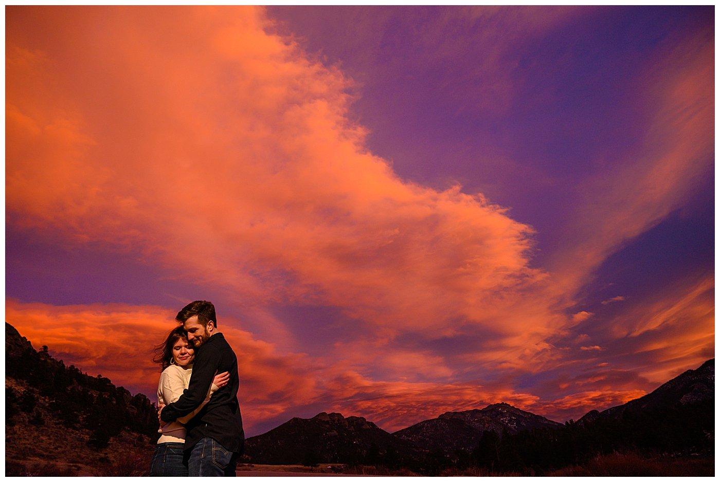estes park sunset engagement photographer